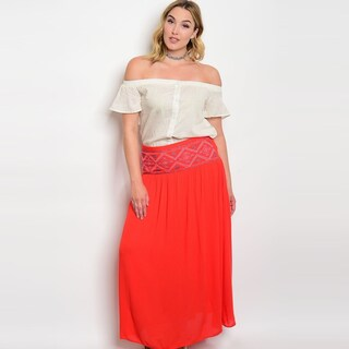Shop The Trends Women's Plus Size High Waisted Maxi Skirt With Full Lining And Embroidered Detail On Waist (3 options available)
