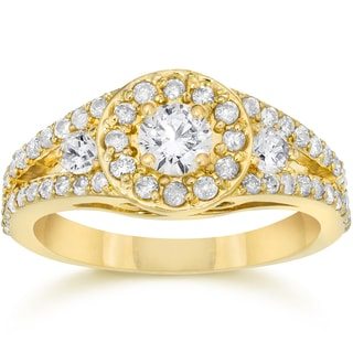 14K Yellow Gold 5/8 Ct TDW Split Shank Diamond Halo Engagement Ring