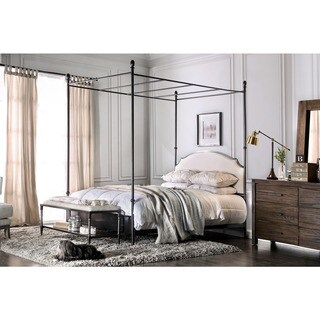 Furniture of America Karis Linen Headboard Metal Canopy Bed