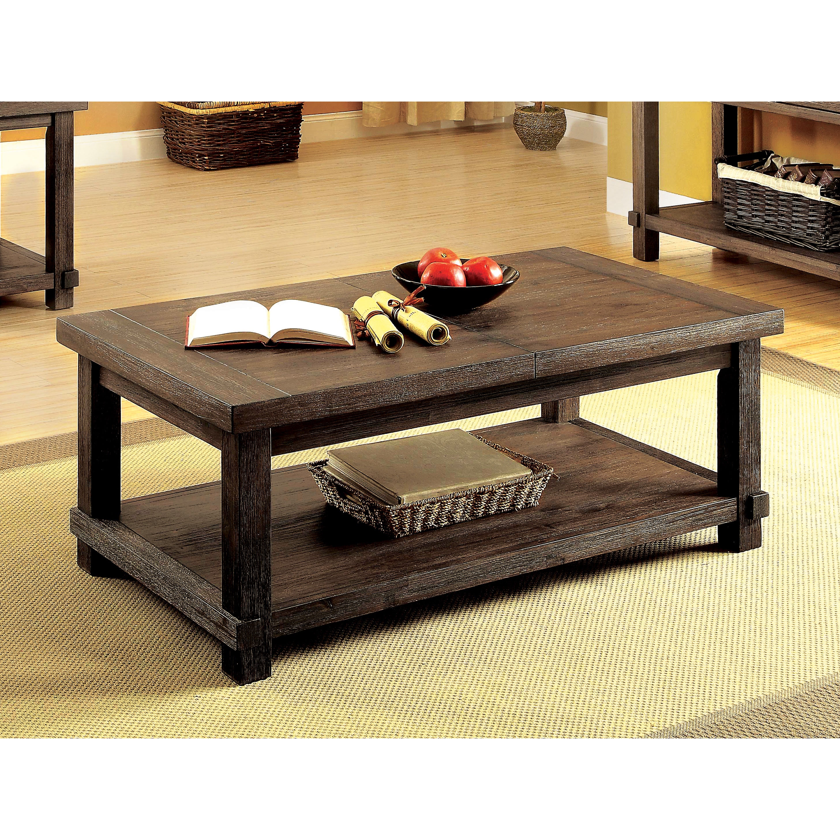 furniture of america mena rustic walnut solid wood coffee table