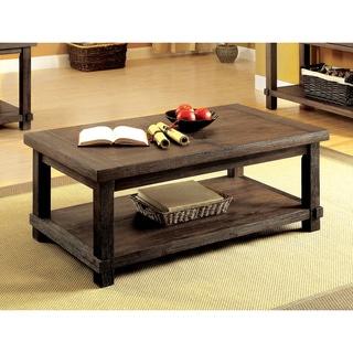 Furniture Of America Mena Rustic Dark Walnut Hidden Storage Coffee Table