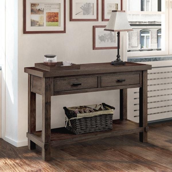 Furniture of america mena rustic dark walnut 2 drawer sofa for Furniture of america sofa table