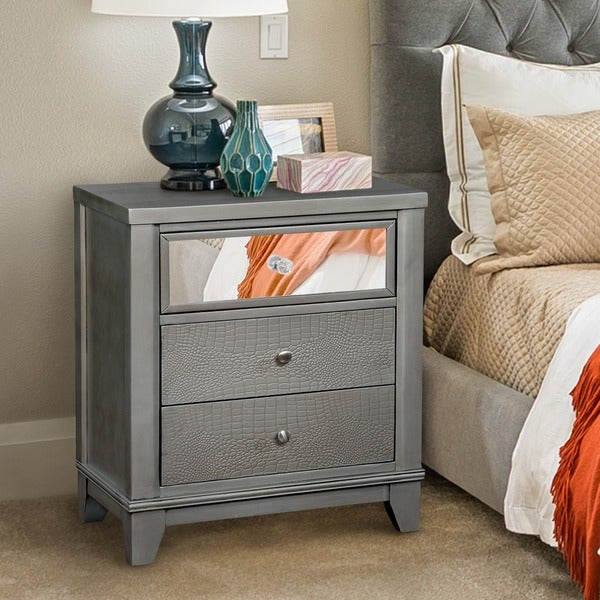 Furniture Of America Lorrence Contemporary 3 Drawer Mirrored Crocodile Textured Nightstand