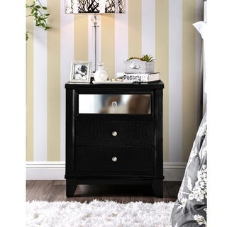 Furniture of America Lorrence Contemporary 3-drawer Mirrored Crocodile Textured Nightstand