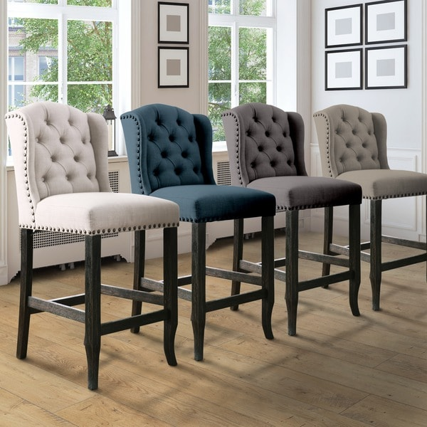 Furniture Of America Telara Contemporary Tufted Wingback 24 Inch Counter Height Chair Set