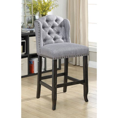 Furniture of America Tays Linen Bar Chairs (Set of 2)