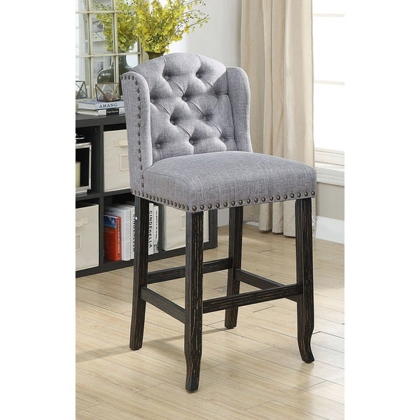 Furniture Of America Telara Contemporary Tufted Wingback 30 Inch Bar Height Chair Set