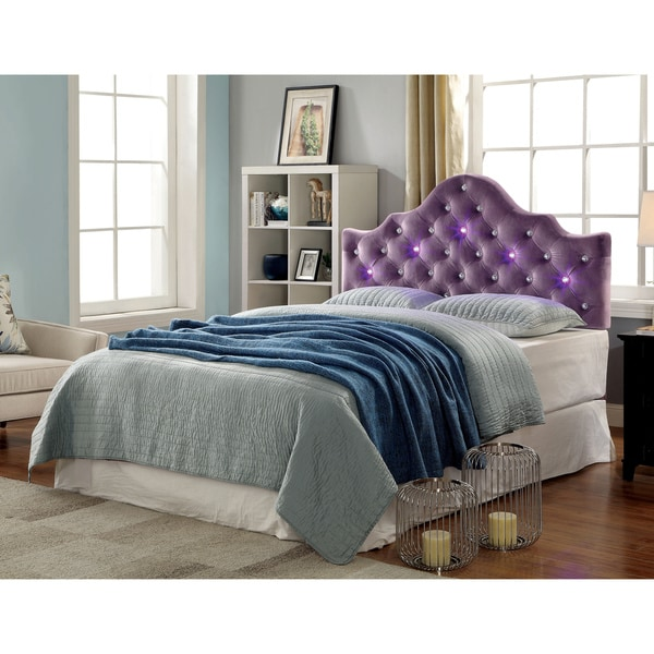 purple bedroom set shop furniture of america lina contemporary button tufted 12971