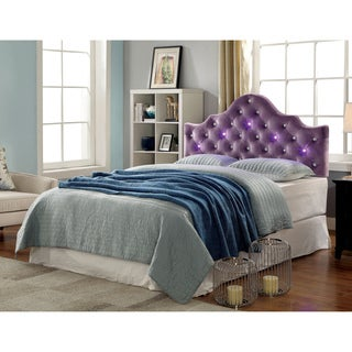 furniture of america lina button tufted crown headboard with led lights option purple
