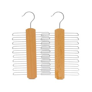 J.S. Hanger Natural Beech Wood Multifunctional Accessories Hangers for Ties and Belts (Set of 2)