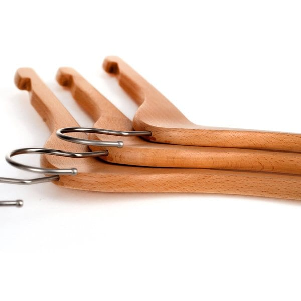 10 Pack Natural Finish Wooden Coat Hangers w// Notched Shoulders /& Anti-rust Hook