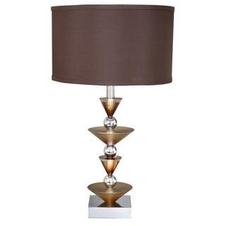Van Teal Simple Run Metal Table Lamp with Brown Acrylic Shade
