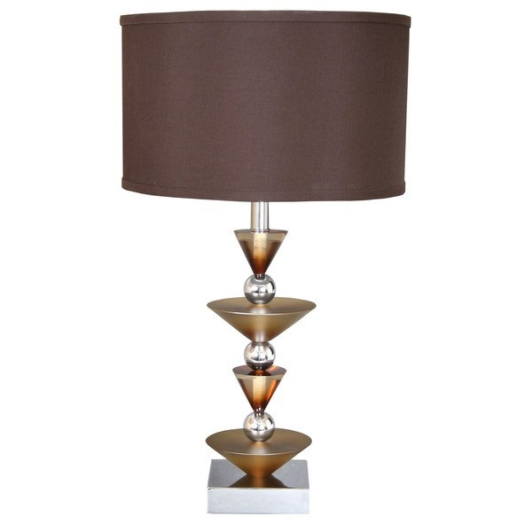 Van Teal Simple Run Metal Table Lamp with Brown Shade