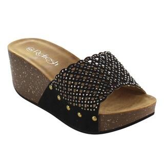 Refresh Women's IE86 Rhinestone-studded Slip-on Platform Wedge Sandals