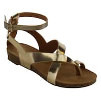 Refresh IE99 Women's Faux-leather Criss Cross Strappy Cutout Flat Thong Sandal