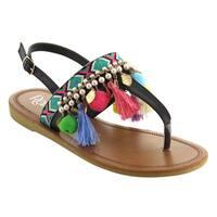 Refresh IE92 Women's Bohemian Pom Pom Tassel Ankle Strap Thong Flat Sandal