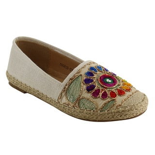 Refresh IE90 Women's Canvas Cap Toe Espadrille Floral Stitched Flats