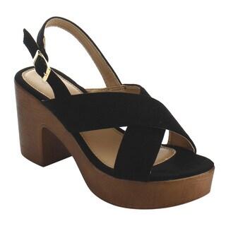 Refresh IE98 Women's Faux-suede Criss-cross Strap Platform Block Heel Sandal