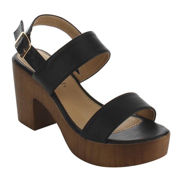 Season Leather Buckle Ankle Strap Block Heel Platform Sandals jpBsC0