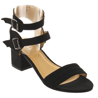 Refresh IE84 Women's Double Ankle Strap Backless Block Heel Sandals