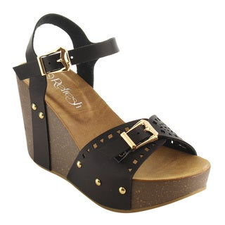 Refresh IE94 Women's Faux Leather Buckle Ankle-strap Cutout Studded Wedge Sandal