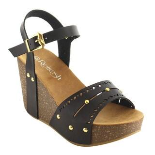 Refresh IE93 Women's Cutout Buckle Ankle Strap Stud Platform Wedge Sandal