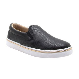 QUPID FI82 Women's Embossed Sporty Slip On Sneakers Half Size Big
