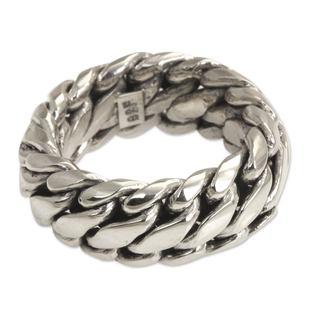 Handmade Men's Sterling Silver 'Sanca Kembang Python' Ring (Indonesia)