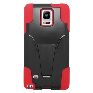 Insten Black/ Red Hard PC/ Silicone Dual Layer Hybrid Case Cover with Stand For Samsung Galaxy Note 4