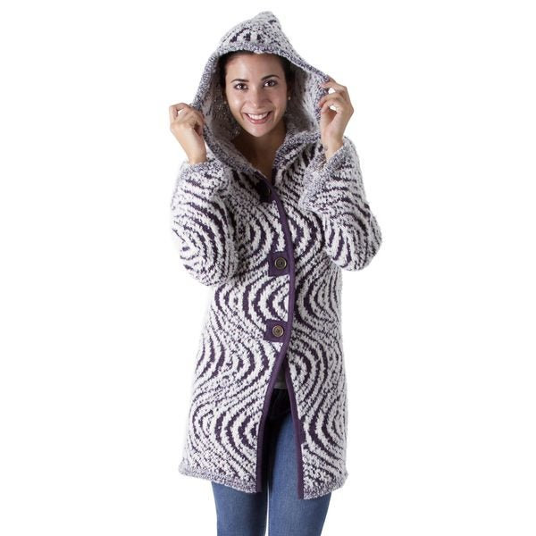 Handmade Alpaca Blend 'Hypnotic Purple' Sweater Coat (Peru)