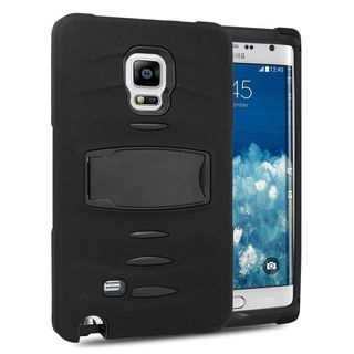 Insten Soft Silicone/ PC Dual Layer Hybrid Rubber Case Cover with Stand/ Screen Protector For Samsung Galaxy Note Edge