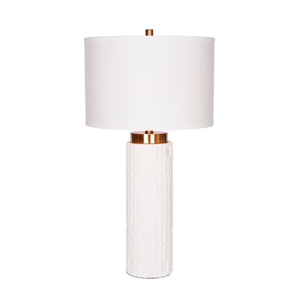 Catalina Zoe White Resin and Brass Embossed Table Lamp