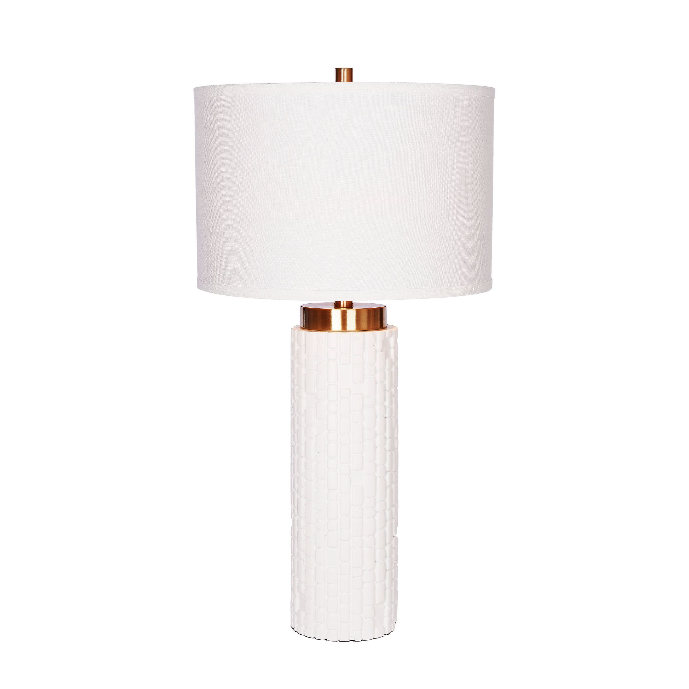 Oliver & James Weygold White Resin and Brass Embossed Table Lamp