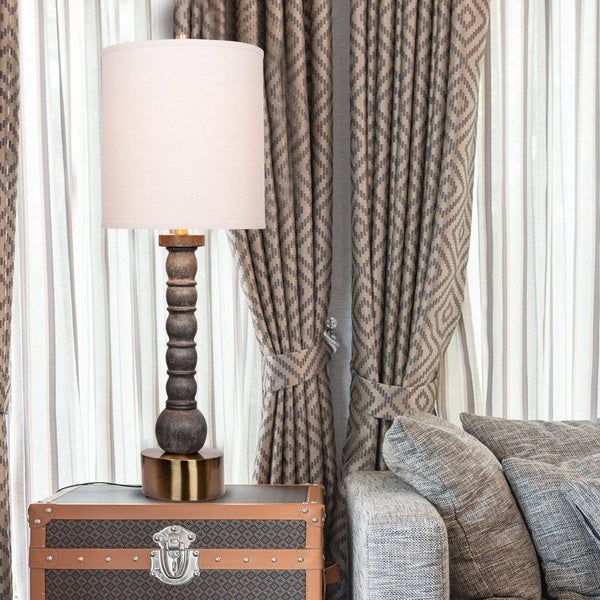Catalina Grayson Faux Washed Wood with Antique Brass Table Lamp