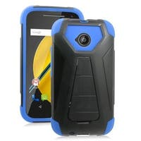 Insten Hard PC/ Silicone Dual Layer Hybrid Case Cover with Stand For Motorola Moto E (2nd Gen)