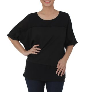 Handmade Chiffon 'Beautiful Day in Black' Blouse (Thailand)