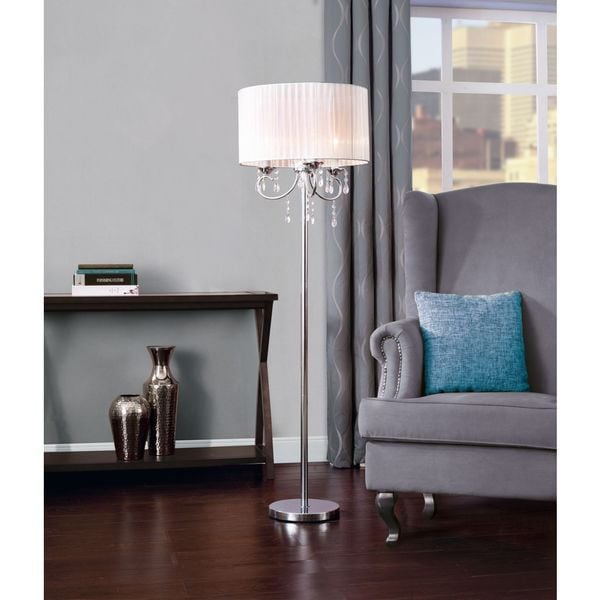 Catalina Glam White and Chrome Chandelier Acrylic Accent Floor Lamp ...