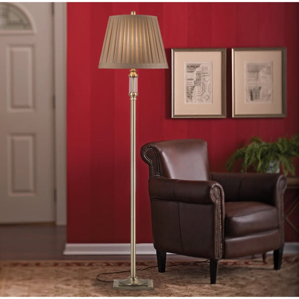 Catalina Charleston 20128-000 Antique Brass Metal and Glass Floor Lamp