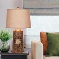 Catalina Jasper Medallion Rust Wood and Polyresin Table Lamp