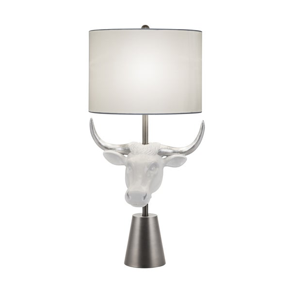Catalina Lighting Resin, Metal and Faux Silk Amarillo Cow Head Table Lamp