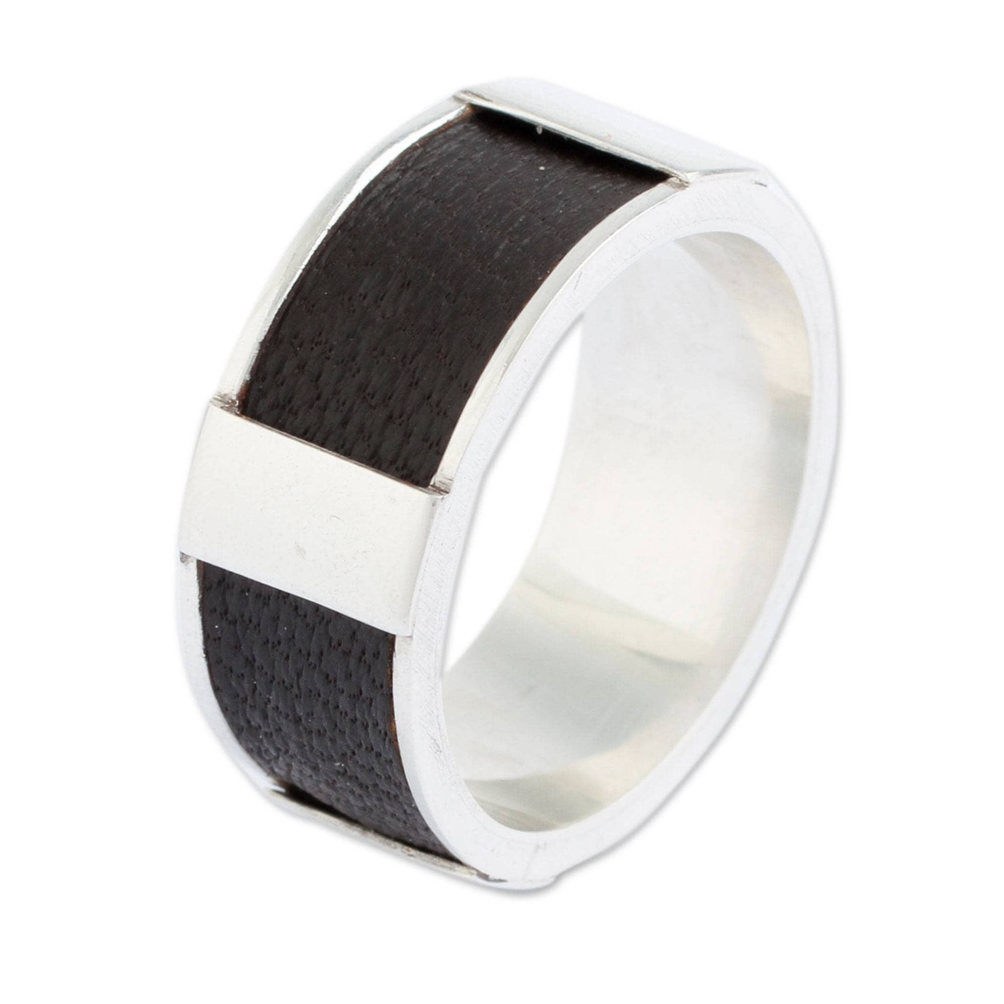 Shop Handmade Sterling Silver Leather Leather Minimalist Ring