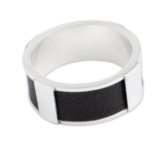 Handmade Sterling Silver Leather 'Leather Minimalist' Ring (Peru)