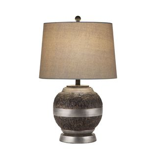 Catalina Whitney Bronze Resin and Beige Linen Shade Table Lamp