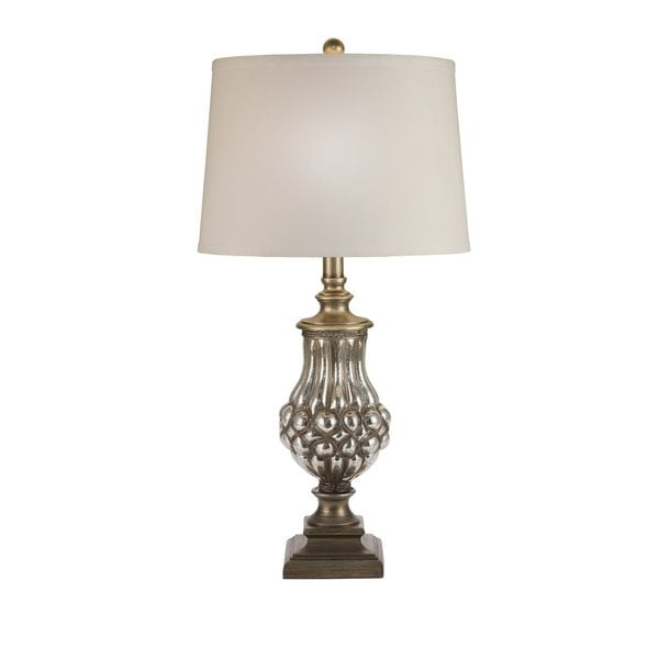 Catalina Abbey Pewter and Linen Trophy Table Lamp