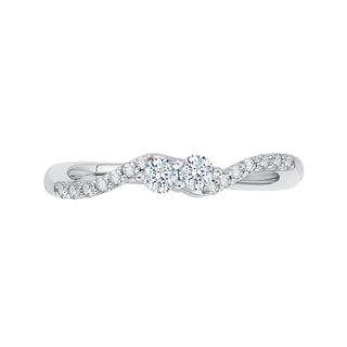 14k White Gold 1/4ct TDW Two-Stone Diamond Fashion Ring (G-H, I2-I3)