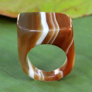 Handmade Agate 'Caramel Ripple' Ring (Brazil)