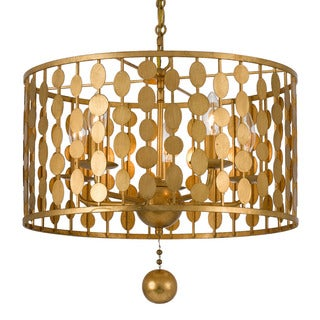Crystorama Layla Collection 5-light Antique Gold Chandelier