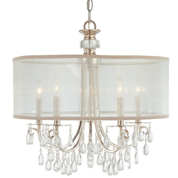 Crystorama Hampton Collection 5 Light Polished Chrome Chandelier