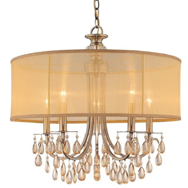 Crystorama Hampton Collection 5 Light Antique Br Chandelier