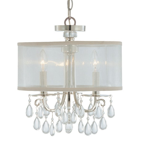 Crystorama Hampton Collection 3 Light Polished Chrome Mini Chandelier